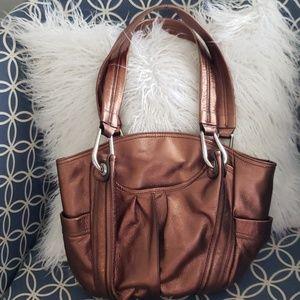 Leather B. Makowsky bag purse metallic